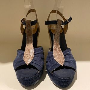 Kanna shoes blue and taupe wedge sandal shoes 40